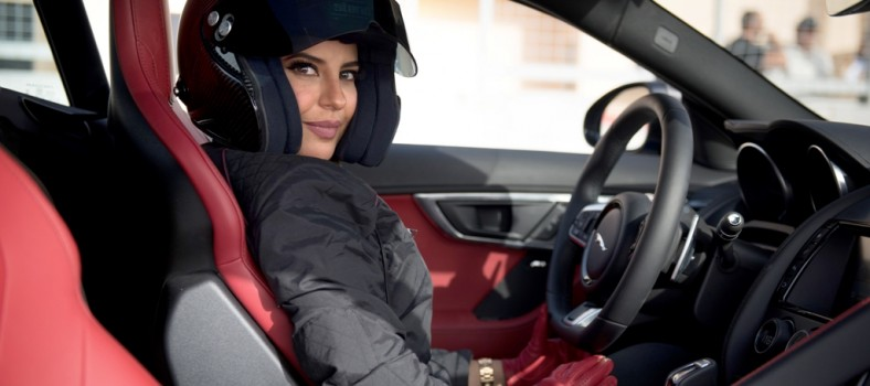 Aseel Al Hamad prepares to drive for the first time on her home soil, Saudi Arabia in a Jaguar F-TYPE