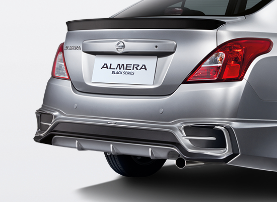 05 New Almera Black Series_TOMEI Rear Bumper Spoiler with Dark Titanium Accent & Gloss Black Trunk Lid Spoiler