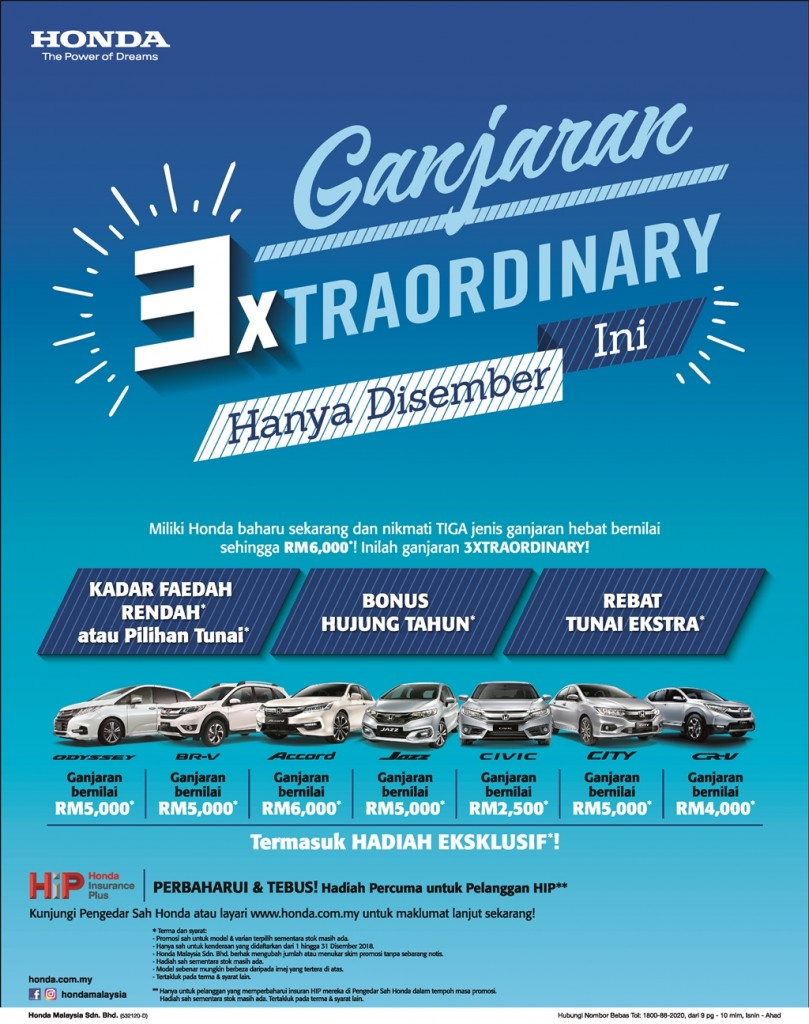 01_2 Honda Malaysia is offering 3XTRAORDINARY Savings from 1 December 2018 to 31 December 2018_BM