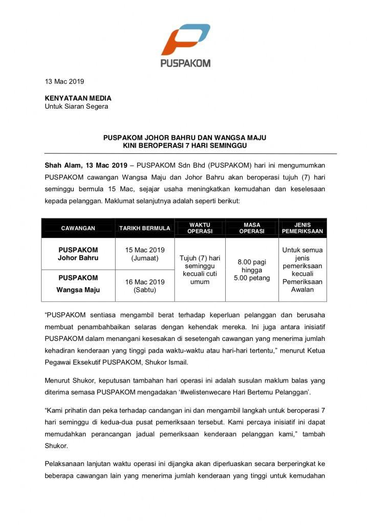 Kenyataan Media 13 Mac 2019_PUSPAKOM WM & JB beroperasi 7 hari seminggu